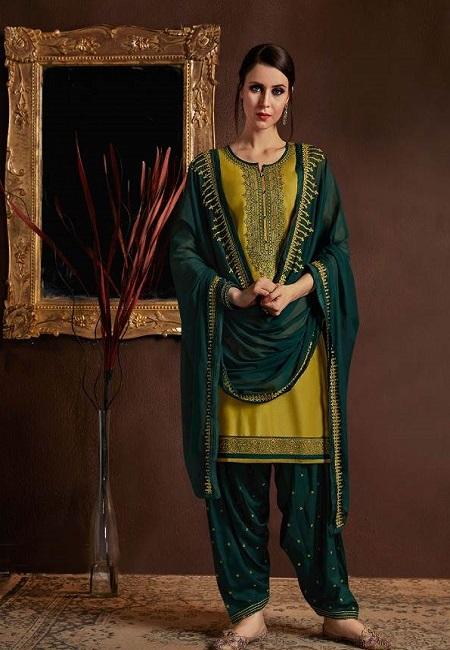 Olive Green Designer Salwar Patiala Set (She Salwar 513)