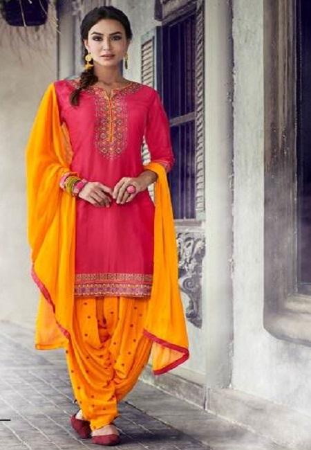 Hot Pink Color Designer Salwar Patiala Set (She Salwar 504)
