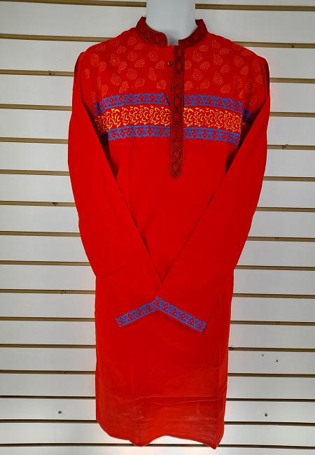 Red Color Regular Fit Cotton Punjabi (She Boutique Punjabi 505)