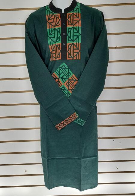 Bottle Green Color Printed Regular Fit Cotton Punjabi (She Boutique Punjabi 508)