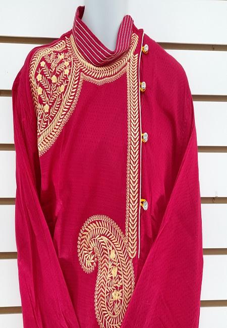 Fuchsia Pink Color Embroidery Regular Fit Cotton Punjabi (She Boutique Punjabi 515)
