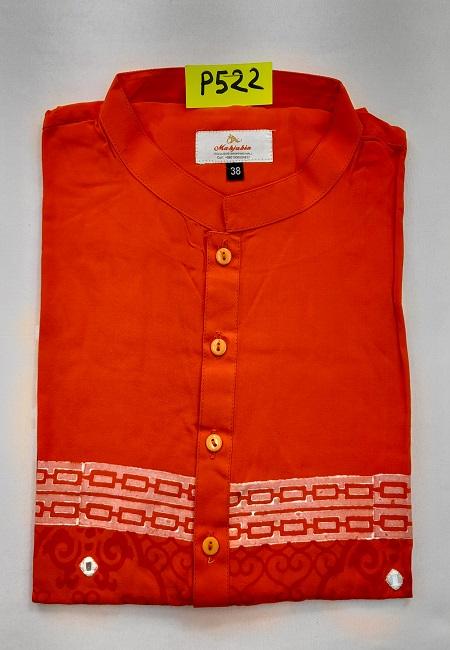 Red Color Embroidery Regular Fit Linen Punjabi (She Boutique Punjabi 522)
