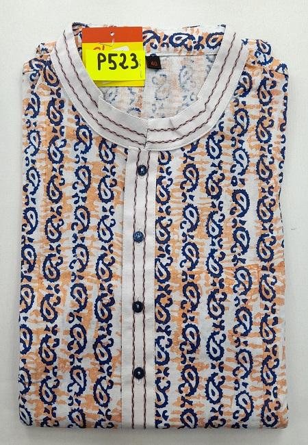 Off White Color Printed Regular Fit Cotton Punjabi (She Boutique Punjabi 523)