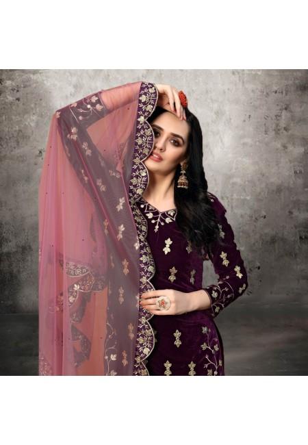 Wine Color Designer Velvet Salwar Suit (She Salwar 529)