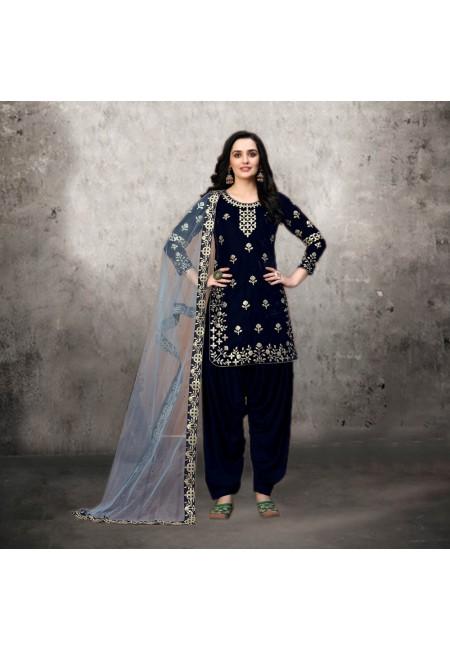 Black Color Designer Velvet Salwar Suit (She Salwar 530)