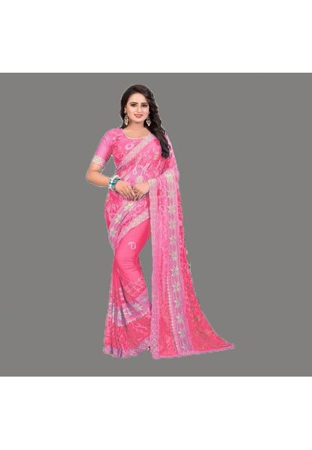 Pink Color Embroidery Chiffon Saree (She Saree 590)