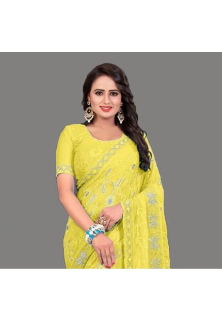 Yellow Color Embroidery Chiffon Saree (She Saree 588)