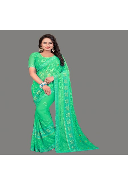 Sea Green Color Embroidery Chiffon Saree (She Saree 589)