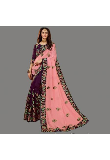 Pink & Wine Color Designer Chiffon Saree (She Saree 597)