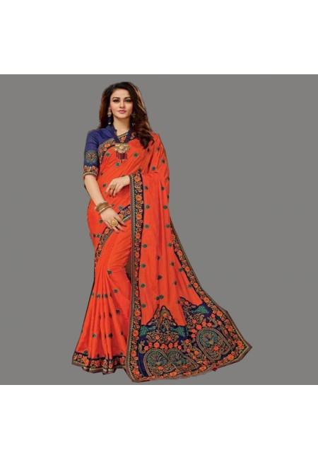 Orange Color Designer Chiffon Saree (She Saree 593)