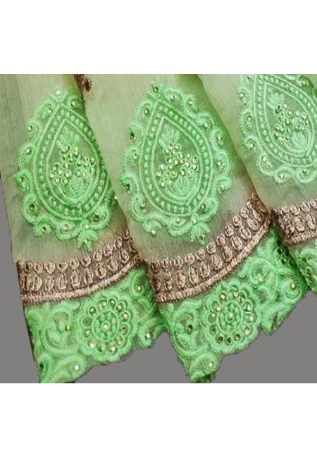 Pastel Green Color Embroidery Chiffon Saree (She Saree 584)