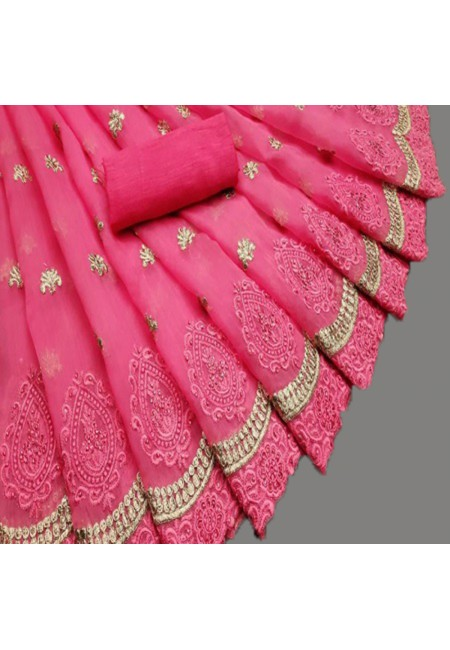 Fuchsia Pink Color Embroidery Chiffon Saree (She Saree 586)