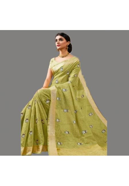 Olive Green Color Linen Cotton Saree (She Saree 580)