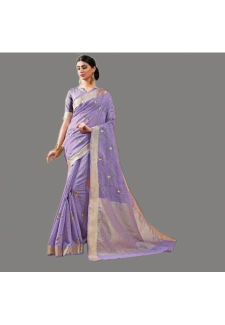 Mauve Color Linen Cotton Saree (She Saree 581)