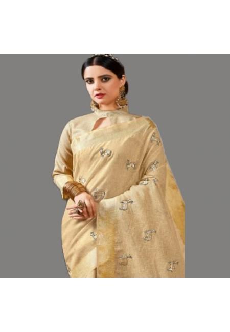 Beige Color Linen Cotton Saree (She Saree 575)