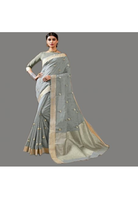 Grey Color Linen Cotton Saree (She Saree 577)